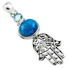 5.92cts natural apatite (madagascar) 925 silver hand of god hamsa pendant r52821