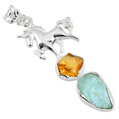 12.34cts natural aqua aquamarine rough 925 silver horse pendant jewelry r57073