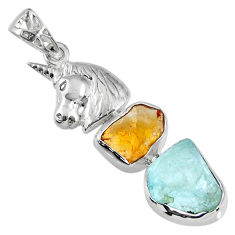 11.95cts natural aqua aquamarine rough 925 silver horse pendant jewelry r57077