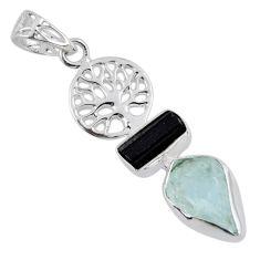 8.28cts natural aqua aquamarine rough 925 silver tree of life pendant r55482