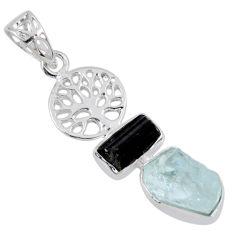 8.77cts natural aqua aquamarine rough 925 silver tree of life pendant r55483