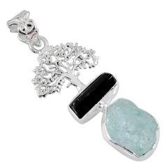 11.46cts natural aqua aquamarine rough 925 silver tree of life pendant r55486