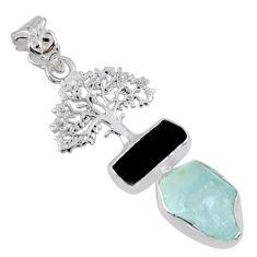 11.46cts natural aqua aquamarine rough 925 silver tree of life pendant r55489