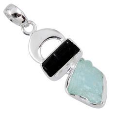 9.45cts natural aqua aquamarine rough 925 silver tree of life pendant r55566