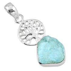 8.31cts natural aqua aquamarine rough 925 silver tree of life pendant r56781