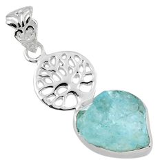 7.62cts natural aqua aquamarine rough 925 silver tree of life pendant r56782