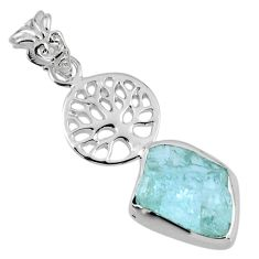 7.24cts natural aqua aquamarine rough 925 silver tree of life pendant r56783