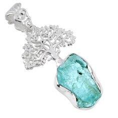 8.26cts natural aqua aquamarine rough 925 silver tree of life pendant r56825