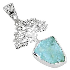 7.63cts natural aqua aquamarine rough 925 silver tree of life pendant r56826