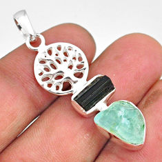 9.29cts natural aqua aquamarine raw 925 silver tree of life pendant r80794