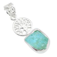 7.17cts natural aqua aquamarine raw 925 silver tree of life pendant r80921