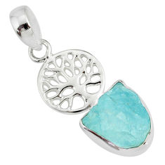 7.60cts natural aqua aquamarine raw 925 silver tree of life pendant r80922