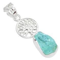 7.33cts natural aqua aquamarine raw 925 silver tree of life pendant r80924