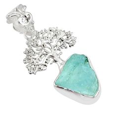 7.50cts natural aqua aquamarine raw 925 silver tree of life pendant r80934