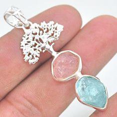 12.52cts natural aqua aquamarine raw 925 silver tree of life pendant t33569