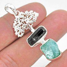 12.89cts natural aqua aquamarine raw 925 silver tree of life pendant t33573