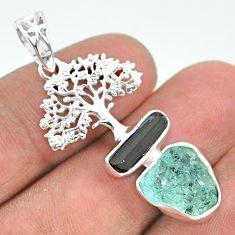 10.78cts natural aqua aquamarine raw 925 silver tree of life pendant t33588