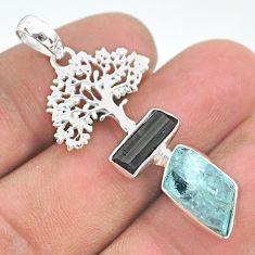 9.98cts natural aqua aquamarine raw 925 silver tree of life pendant t33589