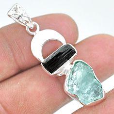 11.58cts natural aqua aquamarine raw 925 silver tree of life pendant t33598