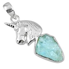 8.94cts natural aqua aquamarine rough 925 sterling silver horse pendant r56786