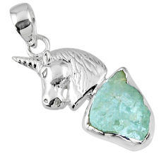 8.53cts natural aqua aquamarine rough 925 sterling silver horse pendant r56787