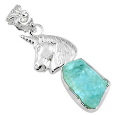 9.74cts natural aqua aquamarine rough 925 sterling silver horse pendant r56828