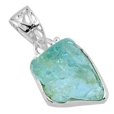 9.27cts natural aqua aquamarine rough 925 sterling silver pendant jewelry r56600