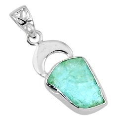 7.77cts natural aqua aquamarine rough 925 sterling silver pendant jewelry r56829