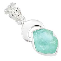 6.98cts natural aqua aquamarine raw 925 silver handmade pendant r80933