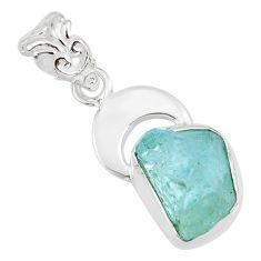 7.50cts natural aqua aquamarine raw 925 silver handmade pendant r80939