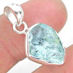 6.67cts natural aqua aquamarine raw 925 sterling silver pendant jewelry t25530