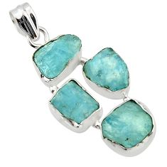 19.90cts natural aqua aquamarine rough 925 sterling silver pendant r43182