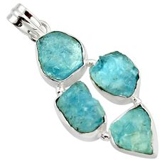 18.94cts natural aqua aquamarine rough 925 sterling silver pendant r43183