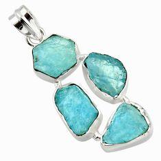 20.67cts natural aqua aquamarine rough 925 sterling silver pendant r43185