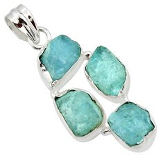 17.42cts natural aqua aquamarine rough 925 sterling silver pendant r43187