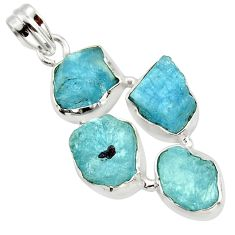 22.44cts natural aqua aquamarine rough 925 sterling silver pendant r43188