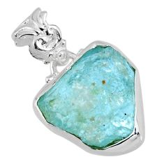 11.18cts natural aqua aquamarine rough 925 sterling silver pendant r56597