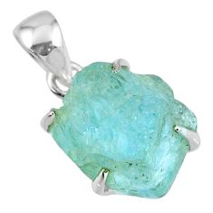 14.80cts natural aqua aquamarine rough 925 sterling silver pendant r56701