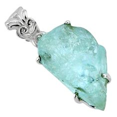 13.20cts natural aqua aquamarine rough 925 sterling silver pendant r56702