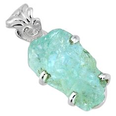 12.07cts natural aqua aquamarine rough 925 sterling silver pendant r56704