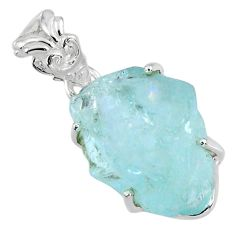 14.80cts natural aqua aquamarine rough 925 sterling silver pendant r56705