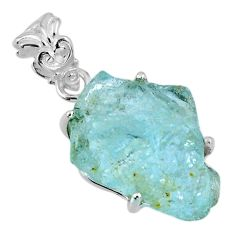 15.36cts natural aqua aquamarine rough 925 sterling silver pendant r56707