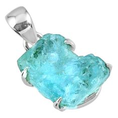 12.50cts natural aqua aquamarine rough 925 sterling silver pendant r56708