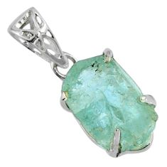 12.10cts natural aqua aquamarine rough 925 sterling silver pendant r56751