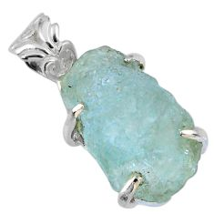 13.20cts natural aqua aquamarine rough 925 sterling silver pendant r56752