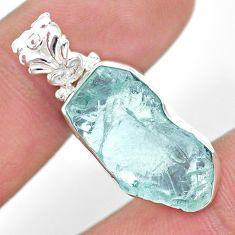 11.20cts natural aqua aquamarine raw 925 sterling silver pendant t31129