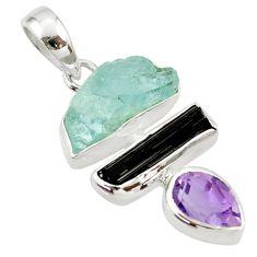 13.67cts natural aqua aquamarine rough amethyst 925 silver pendant d45352