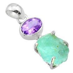 13.08cts natural aqua aquamarine rough amethyst 925 silver pendant t29883