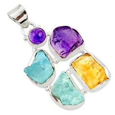 26.16cts natural aqua aquamarine rough amethyst rough 925 silver pendant d45349