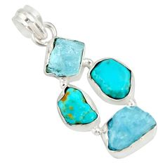 14.14cts natural aqua aquamarine rough campitos turquoise silver pendant r26862